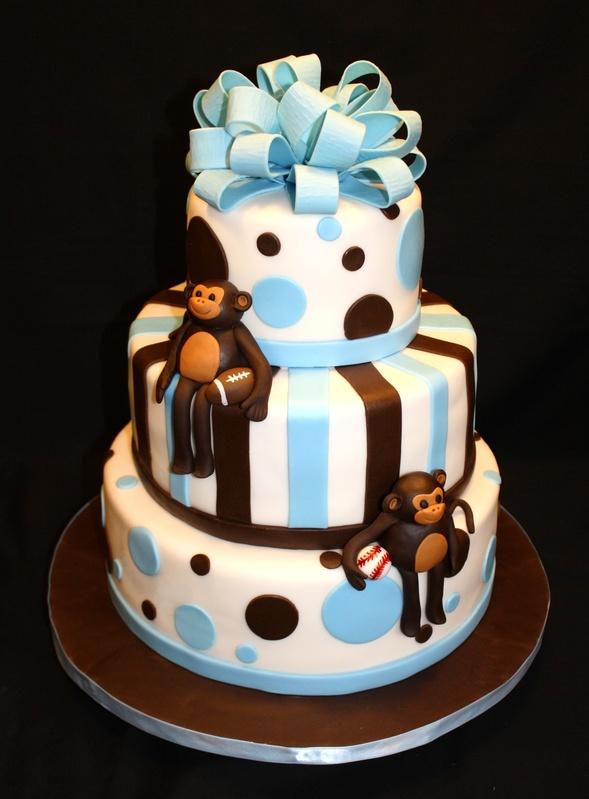 Monkey themed baby shower cake - Monkey baby shower cakes for boys ...