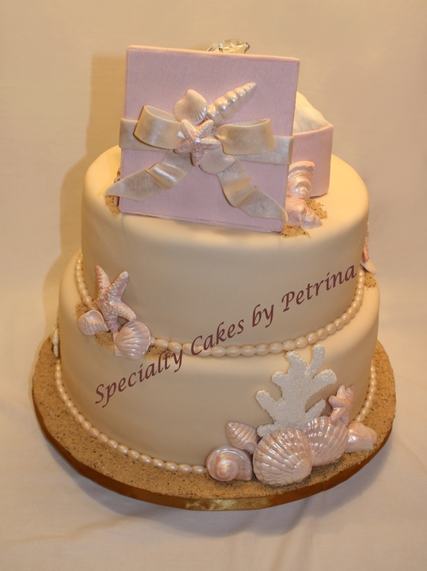 Cake Decorations For Engagement Cake : Beach Themed Engagement Cake - Specialty Cakes by Petrina, LLC